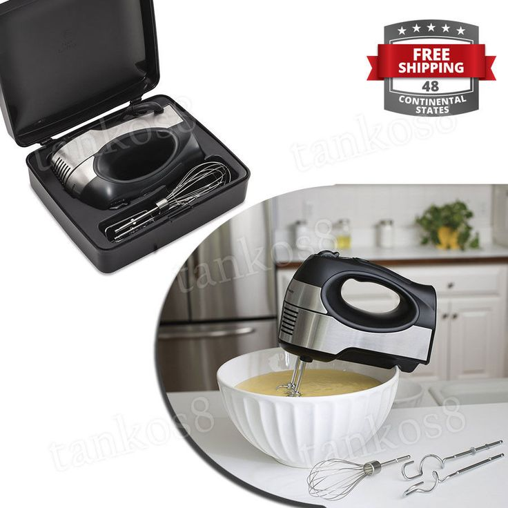· Set includes 2 beaters, whisk, and 2 dough hooks. convenience and comfort with the Small Mixer whit Storage Case. With a soft-grip handle for easy use and three mixing attachments, this versatile mixer is your go to appliance for blending, creaming, kneading and folding.   eBay!