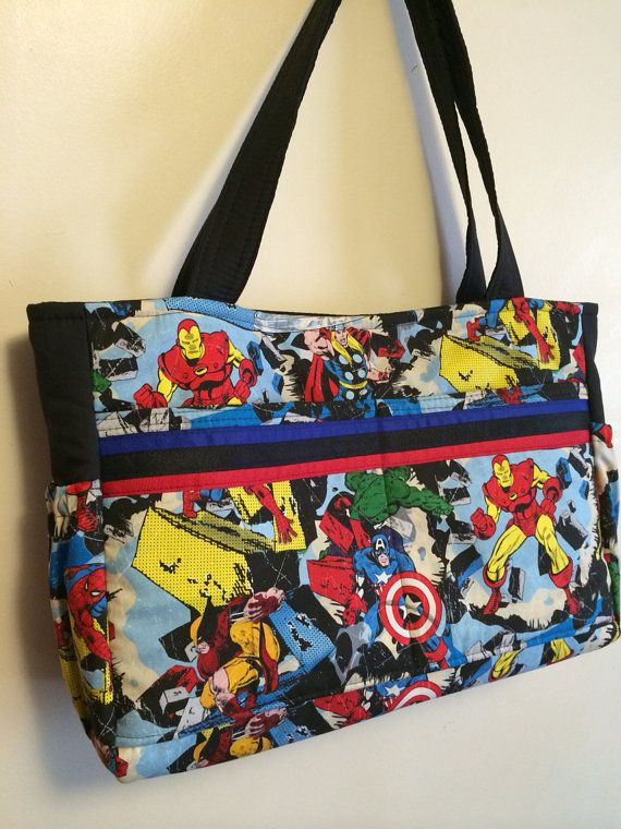 The ultimate diaper bag for dads, New Marvel comic retro avengers with black, magnetic snap *Made to order* on Etsy, $60.00