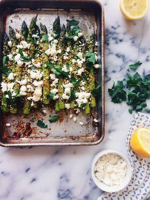 Pistachio Crusted Asparagus with Feta
