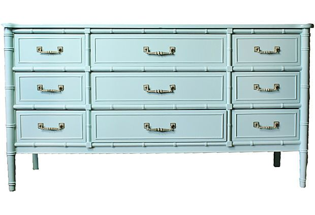 Aqua Faux-Bamboo Dresser - who knew?  All we need is Ben Moore Antiguan Sky paint and we can triple the price!