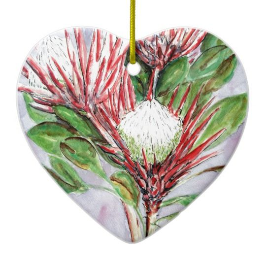 Proteas Ceramic Ornament Christmas Decoration  Gorgeous proteas, handpainted in watercolors from my original painting on archival paper. Height: 8.4 cm Width: 6 cm Weight: 42.5 g  Full-colour, full-bleed printing. Add your own pic or message to the other side for that personal touch! Beautiful Australian flowers painted in Sydney.