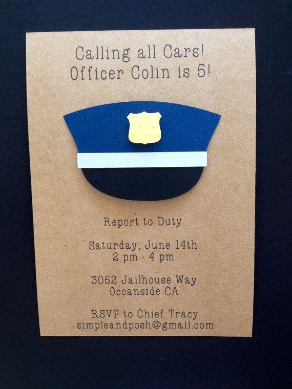 Police Invitations Handmade Custom Made for Kid's by SimpleandPosh