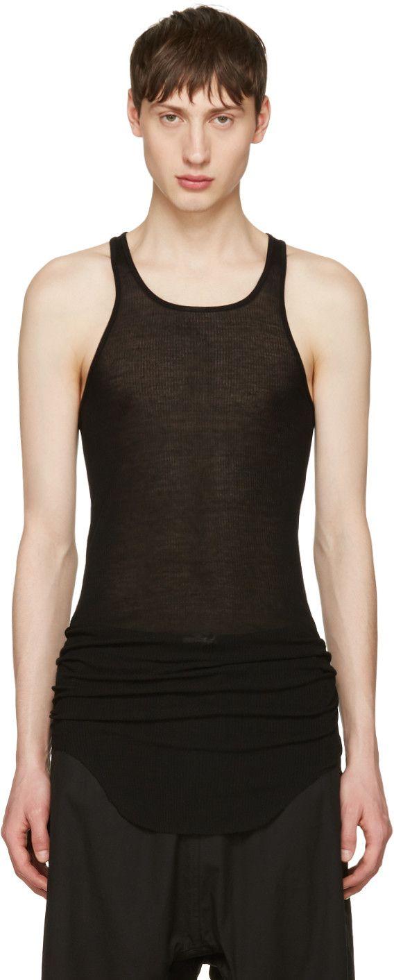 RICK OWENS Black Ribbed Tank Top. #rickowens #cloth #top