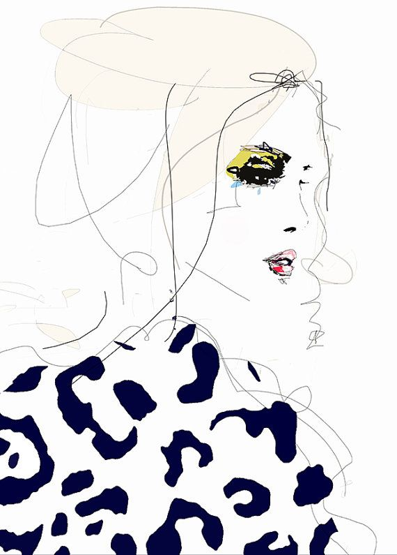 Draw the Line – Fashion Illustration Art Print ,Portrait, Mixed Media Painting by Leigh Viner – Minca 80