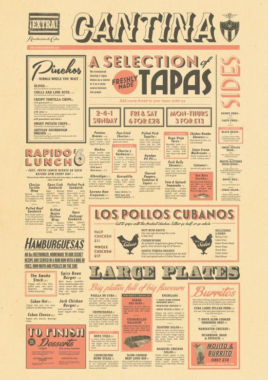 Cuban Food Menu Design, Tapas Bar Menu Graphic Design by www.diagramdesign.co.uk
