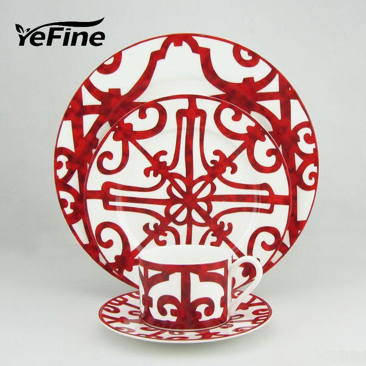Yefine костяного фарфора набор посуды фарфоровая посуда блюдо и пластины красный Роскошные кофейные чашки и блюдца керамические тарелкикупить в магазине YeFine Ceramic StoreнаAliExpress