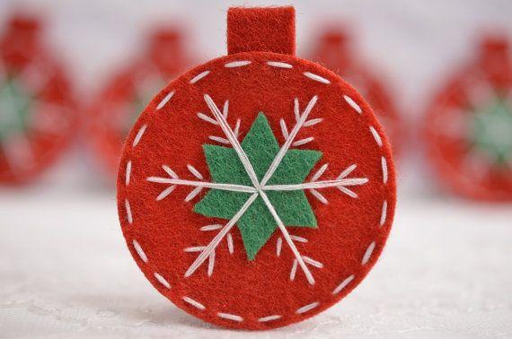 Set of 6pcs handmade felt Christmas Ornament--devil red (FT984)