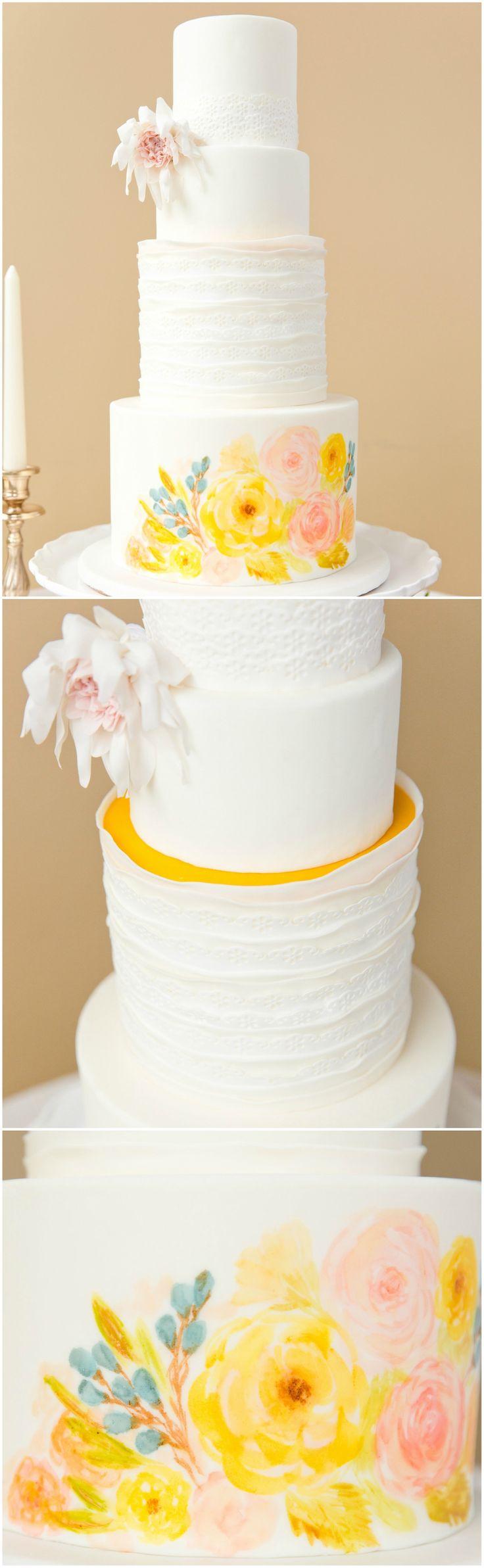 Tall wedding cake, painted flowers, hidden orange fondant layer, cafe au last dahlia // Erica and Jon Photography