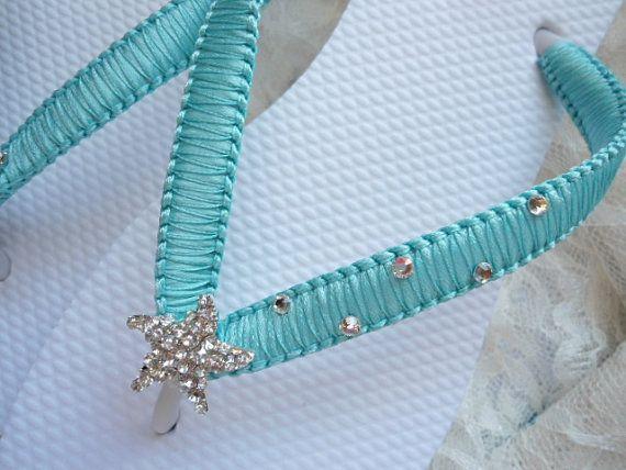 Beach Wedding Flip Flops Decorated With Baby Starfish
