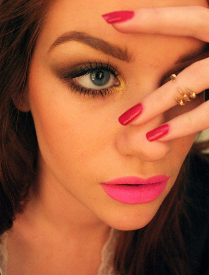 Makeup + Hair: Eye makeup and pink matte lips