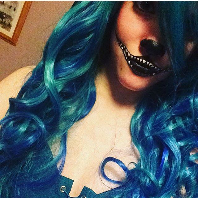 Lush Wigs - Aqua looks lovely on spooky @chloemegan_99 #lushwigshalloween #lushwigs #lushwigsaqua #wig Buy this at: www.lushwigs.com