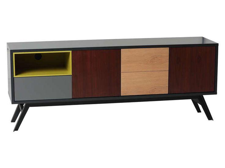 Meuble TV 3 portes+1 tiroir CAYMAN coloris chene/gris/anthracite / noyer/vert - Vente de Meuble tv - Conforama