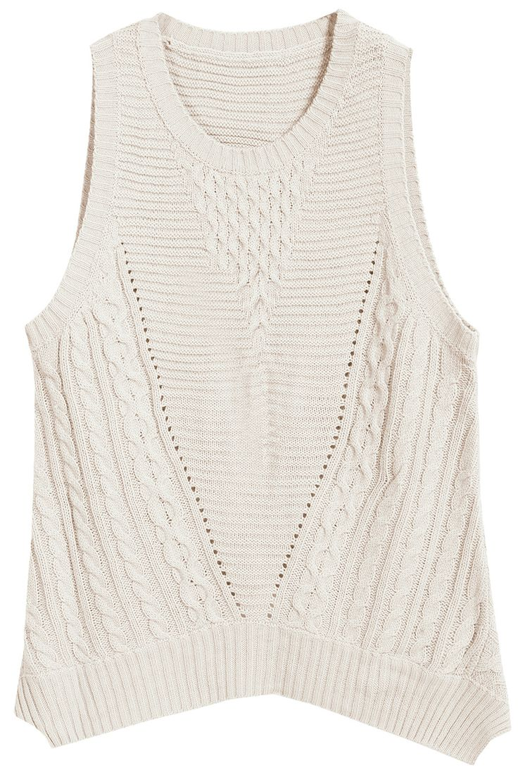Sleeveless Cable Knit White Sweater 13.83