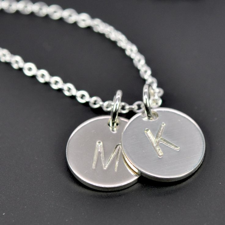 Tiny Silver Initial Pendant Necklace Multi Disc, Monogram Letter Hand Stamped, Kristin Noel Designs