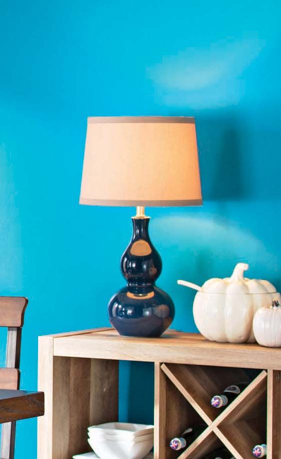 Better Homes and Gardens Double Gourd Ceramic Lamp Base with CFL Bulb