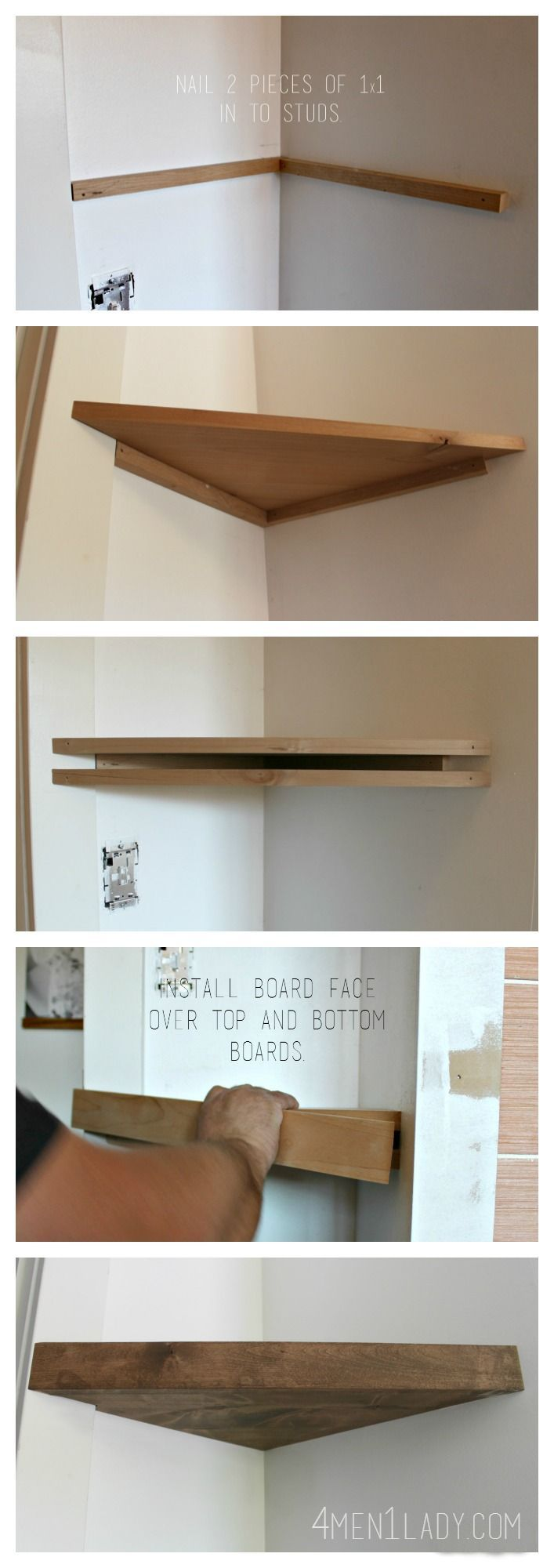 How to make corner floating shelves. 4men1lady.com Office DIY Decor, Office Decor, Office Ideas #DIY