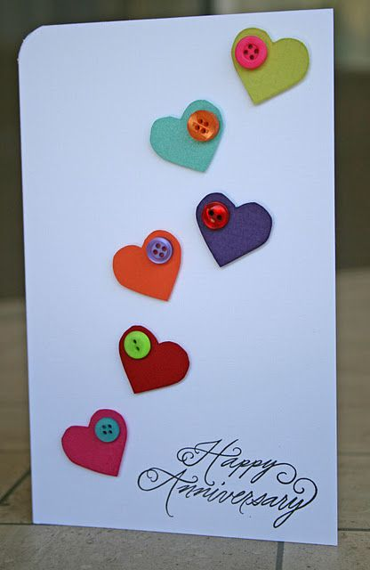 cute heart and button cardfor anniversary valentines or just because - Make Your Own Anniversary Card