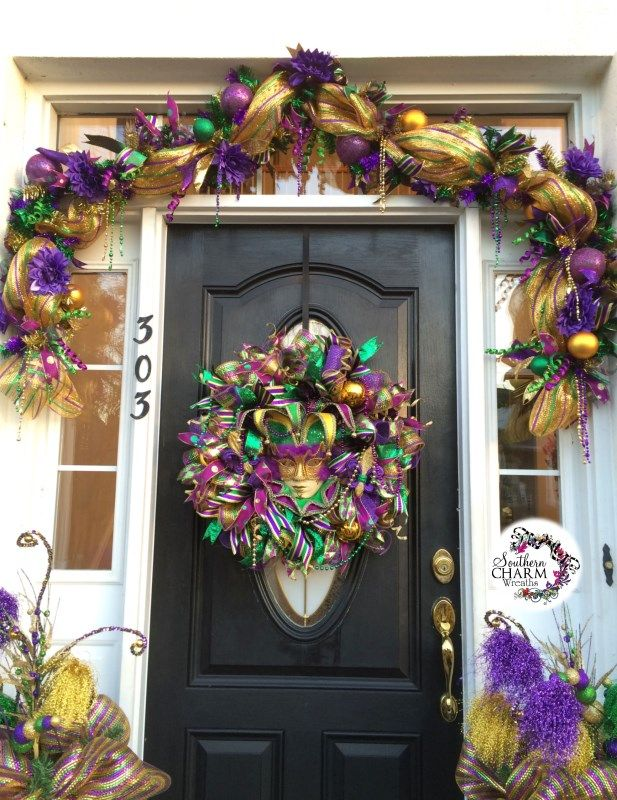 Stunning entrance way by Southern Charm Wreaths! Deco Mesh Mardi Gras Door - Learn to make this yourself!