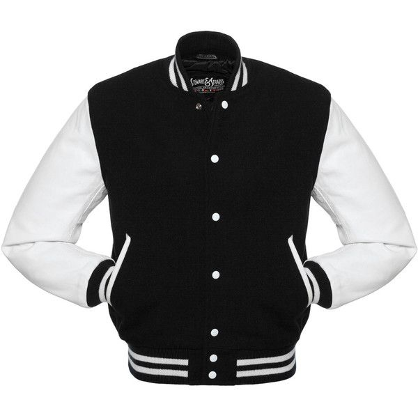 Black Wool and White Leather Letterman Jacket - C101 US found on Polyvore