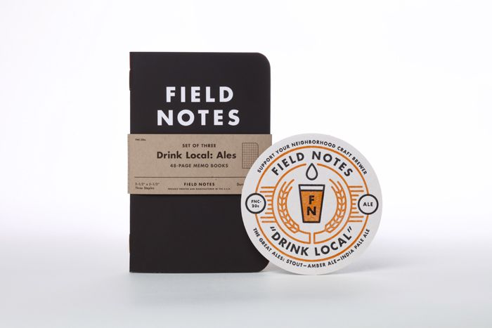 Field Notes Colors: Drink Local Limited Edition. Each pack comes with a simple but effective label. Sets comes in it's own packaging six-pack
