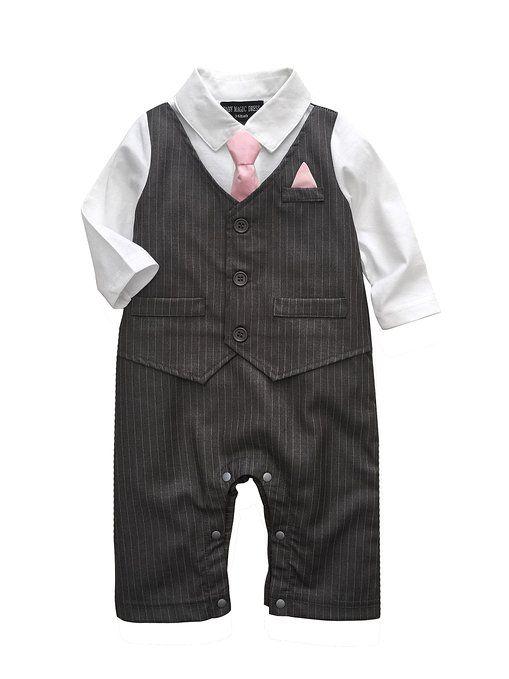 Baby Boy Wedding Tuxedo Waistcoat Design 1pc Outfit Suit (0-3 Month, Dark Grey)