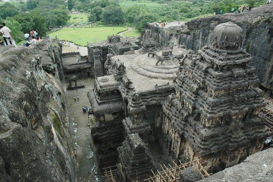 Ellora, is an archaeological site, 29 km North-West of the city of Aurangabad in the Indian state of Maharashtra built by the Rashtrakuta dynasty. It is also known as Elapura. Well known for its monumental caves, Ellora is a World Heritage Site.