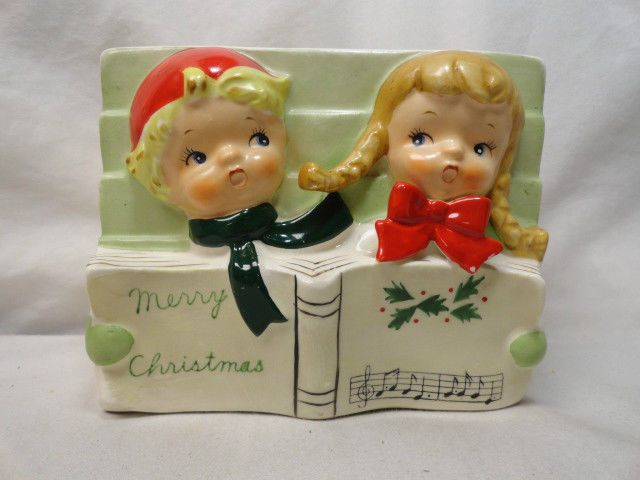 Napco Japan Vintage Merry Christmas Planter 1950's Boy & Girl Caroler