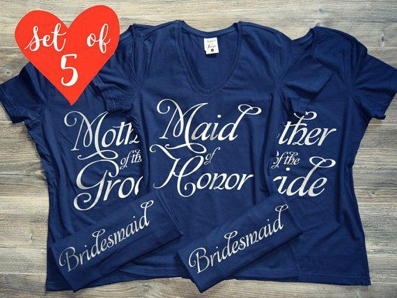 Set of 5 Bridesmaid T-Shirts. 5 Bridesmaid V-Neck Tees. 5