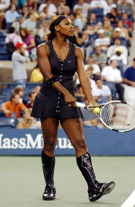 The most controversial Tennis look of the lot, Serena Williams' 2004 US Open outfit was not only black, it had custom-made knee-high boots!