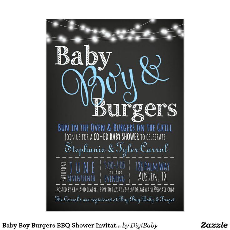 inspirational baby shower invitation wording%0A Baby Boy Burgers BBQ Shower Invitation Book Card  babyshowerinvitations   babyshower  bbq  babyq