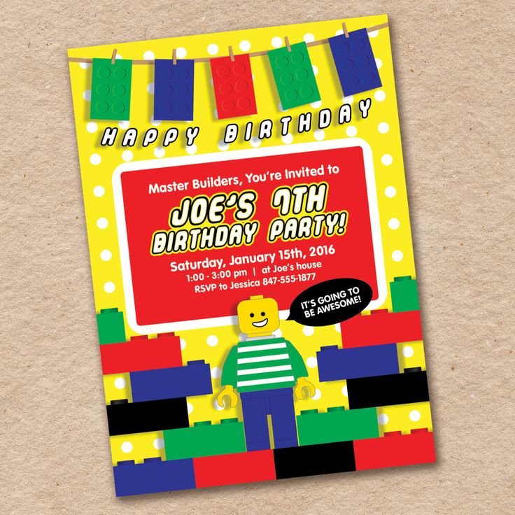 Lego Birthday Party Invitation, Awesome, Primary Colors by InvitingLeeLee on Etsy