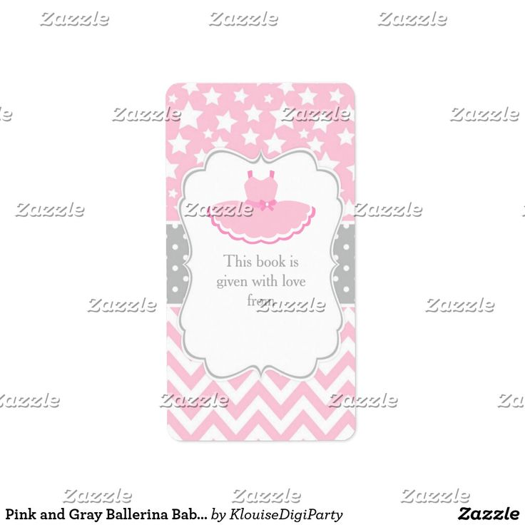 Pink and Gray Ballerina Baby Shower Bookplate