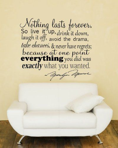 Marilyn Monroe Wall Decals: Nothing Lasts Forever.. Marilyn Monroe Quote Vinyl  Wall Decal