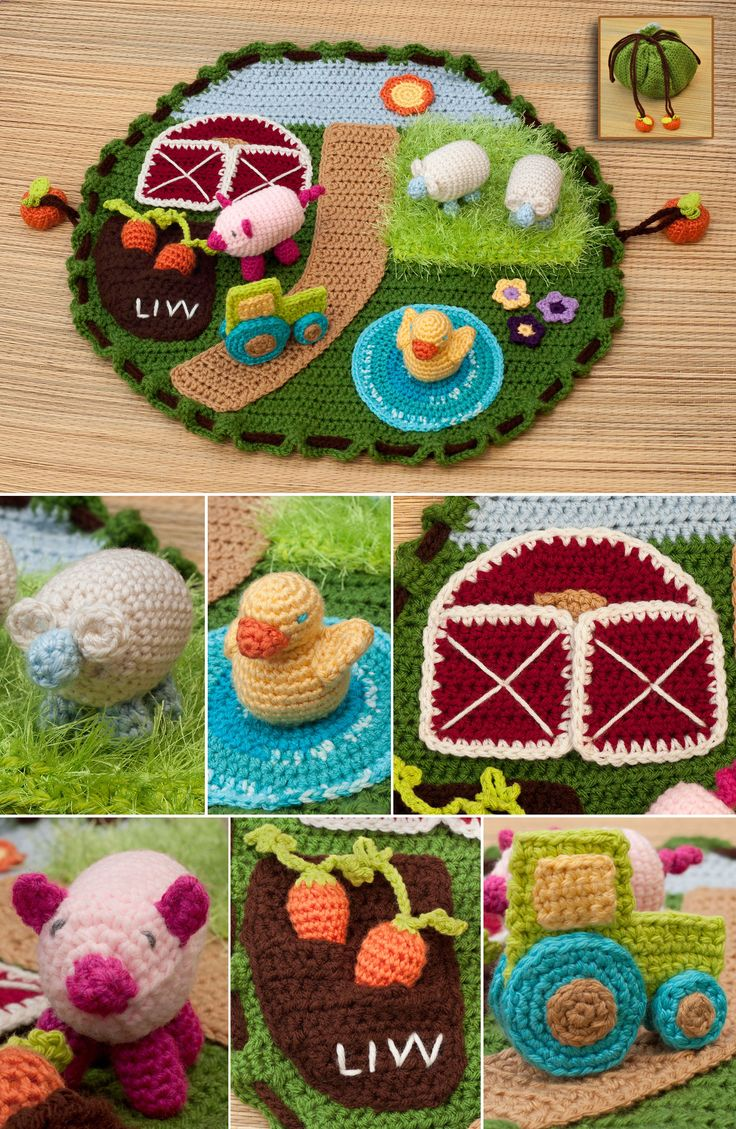 "Free Crochet Pattern from Lion Brand ""Down on the Farm Playmat"" http://www.lionbrand.com/patterns/L20691.html"