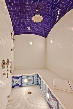 The shower is it's own room! Love tile curved ceiling and tile pattern bench! Steam room and shower in one #SpaatHome #spa home #bathroom 12 Luxury Showers That Will Never Make You Want To Leave The Bathroom (PHOTOS)