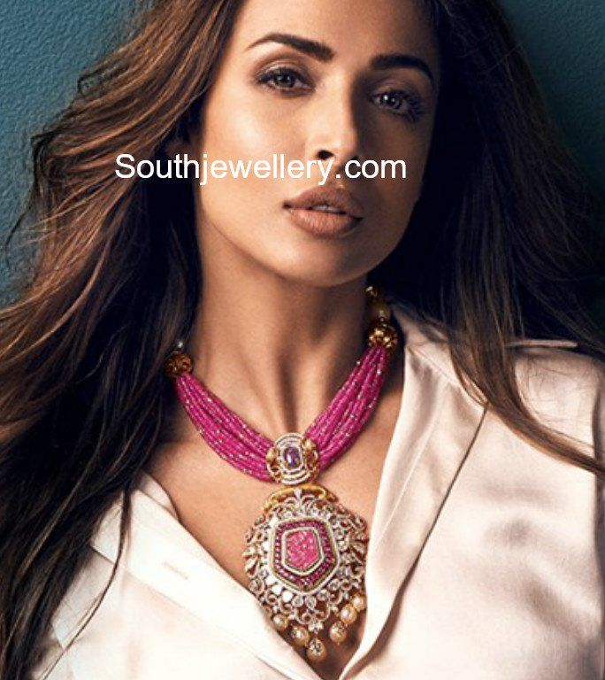 Ruby Beads Necklace With Uncut Diamond Pendant photo