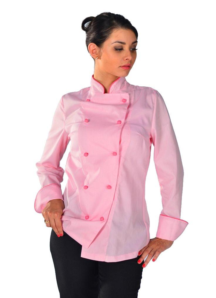 Veste de cuisine rouge femme