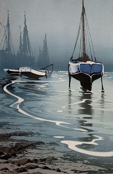 ✨ Oscar Droege (1898-1983) - Blaues Boot, Farb-Holzschnitt ::: Blue Boat, Colour Woodcut