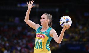 Paige Hadley, Australia's wing attack, in action during last year's Netball World Cup in Sydney.