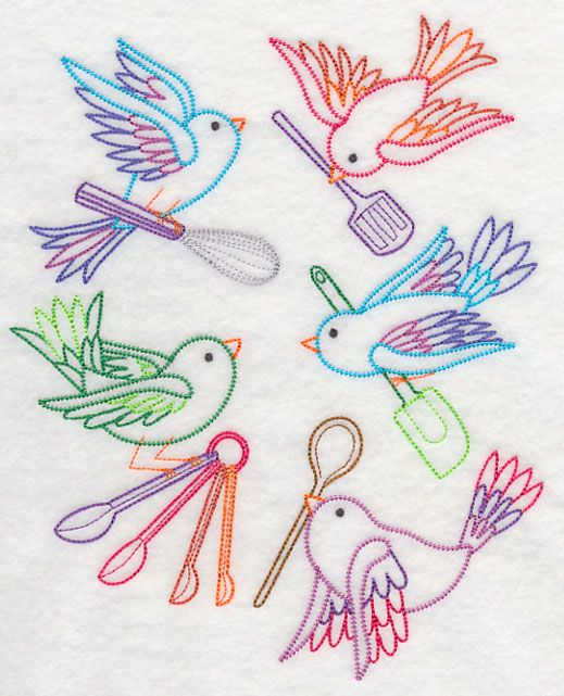 Kitchen Birds with kitchen utensils color work Machine Embroidery Designs at Embroidery Library! - Color Change - K2114