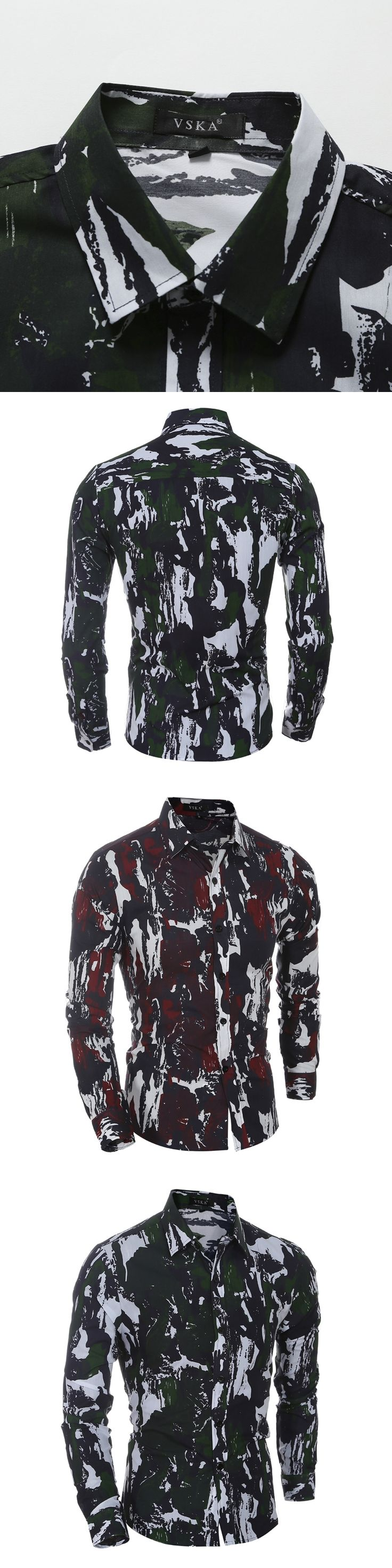 Camisas Hombre Vestir Dress Shirts Mens Shirt Slim Fit Chemise Homme Men Shirt Camouflage Jungle Heren Hemden Camisa Masculina