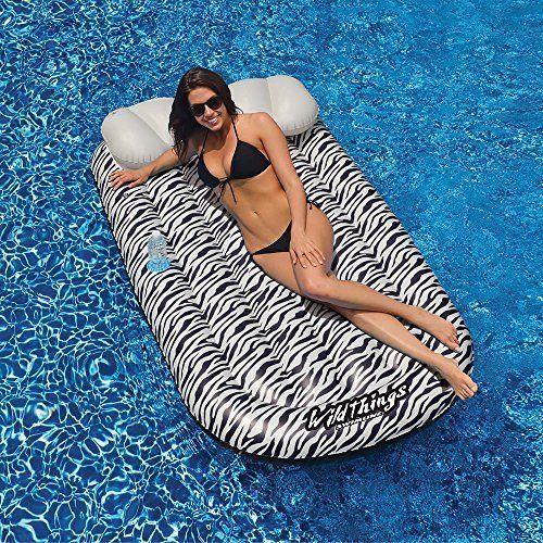 Swimline Pool Floats Hot Tubs Swimming Pool Supplies Wild Thing Mat Zebra Lounge #Swimline