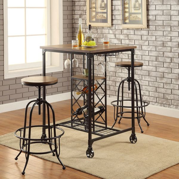 Awesome Furniture Of America 3 Pc Silvia I Collection Industrial Style Bronze Metal  Finish And Square Wood Top Bar Height Table Set
