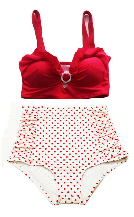 Red velvet padded Top and White/Red Polka dot Dots High-waist waisted Shorts Bottom Vintage Retro Swimsuit Swimwear Bikini set Swimsuits M L...