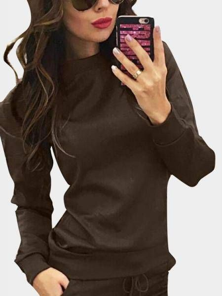 Coffee Crew Neck Drawstring Waist Long Sleeves Tracksuit