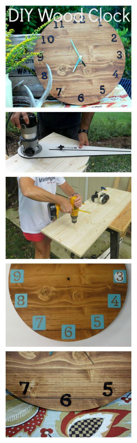 Learn how to make your own wood clock with wood burned numbers. virginiasweetpea.com #woodworking