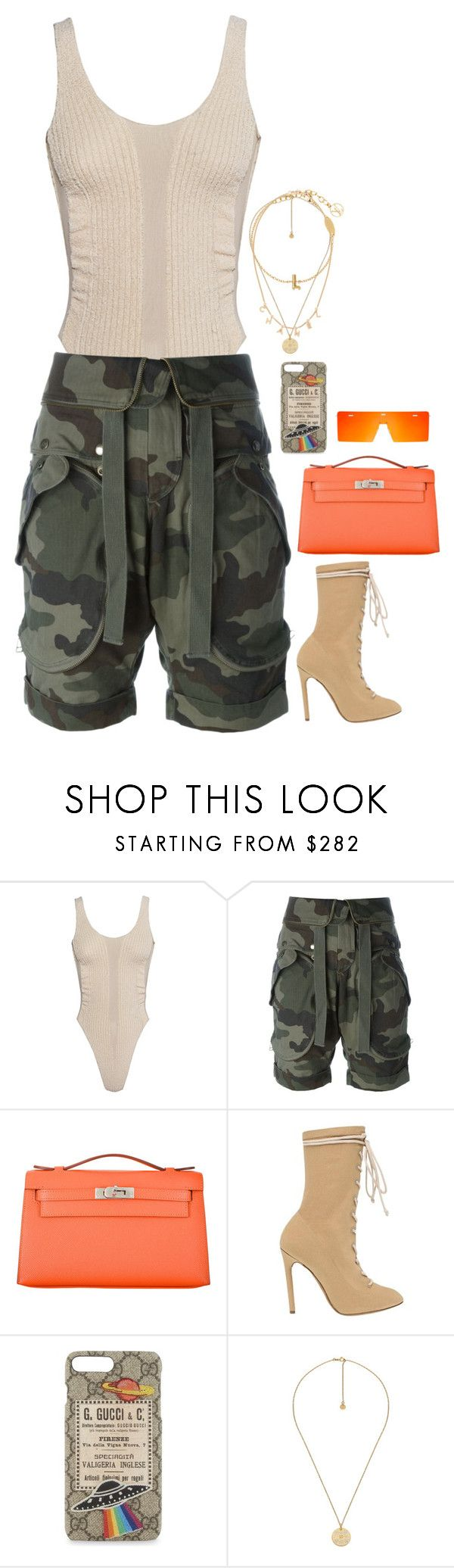 Yeezy shoes and body with orang Hermès bag by hugovrcl on Polyvore featuring Faith Connexion, Yeezy by Kanye West, Hermès and Gucci