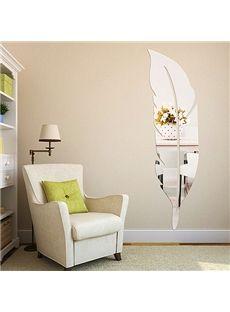 Original Fantastic Wall Decoration 3D Acrylic Mirror Feather Wall Sticker  #home Decor #wall Art