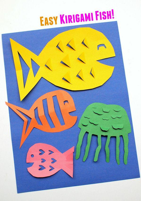 Fácil Kirigami Craft pescado para los niños más pequeños
