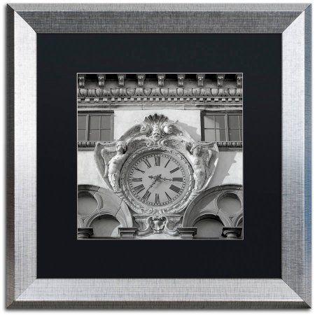 Trademark Fine Art Il Grande Orologio II Canvas Art by Alan Blaustein, Black Matte, Silver Frame, Gray